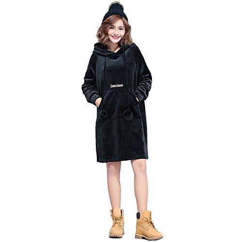 Oversize Plus Size Gold Velvet Dress Ladies Casual Hooded Dresses Lady Loose Tracksuit Sweatshirt Tunic Hoodies Black One Size
