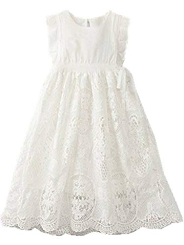 Bow Dream Flower Girl's Dress Vintage Lace Off White 4 (White Vintage Lace Flower)