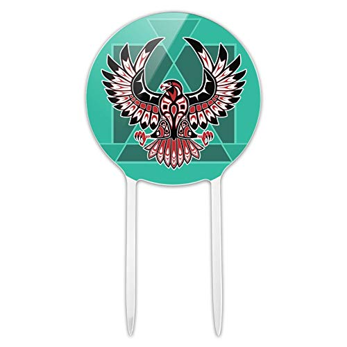 Blackhawks Cake Topper (GRAPHICS & MORE Acrylic Black Hawk Native American Design Style Cake Topper Party Decoration for Wedding Anniversary Birthday)