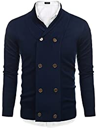 "<span class=""a-offscreen"">[Sponsored]</span>Mens Slim Fit V-Neck Shawl Collar Cardigan Sweaters With Ribbing Edge"