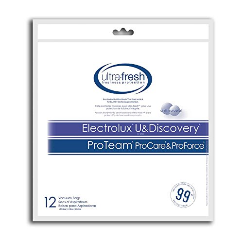 Electrolux U and Discovery ProTeam ProCare, ProForce and ProLux Micro Filtration Bag, 12 Bags Treated with Ultra-Fresh for Model EA-02626