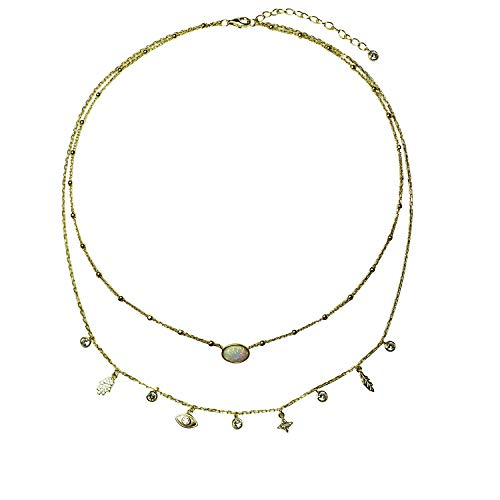 Jules Smith Layered Inner Goddess Charm Necklace with Opal, Hamsa, Evil Eye and CZ Pendants - 14k Gold Necklace for Women with Dainty Adjustable Chain for Perfect Sizing