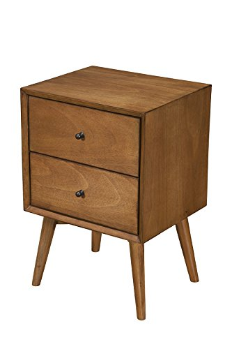 Bedroom Alpine Furniture Flynn Nightstand, 18″ W x 15″ D x 26″ H, Acorn modern bedroom furniture