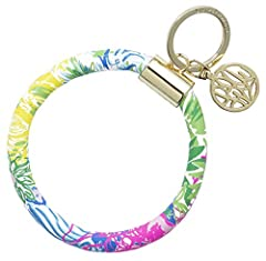 Lilly Pulitzer® Bracelet Keychain Opening measures 4 inches wide and fits on most wrists Made of leatherette & features the print Cheek to Cheek Includes a gold metal Lilly Pulitzer logo charm Easily secure your car keys, house keys, and ...