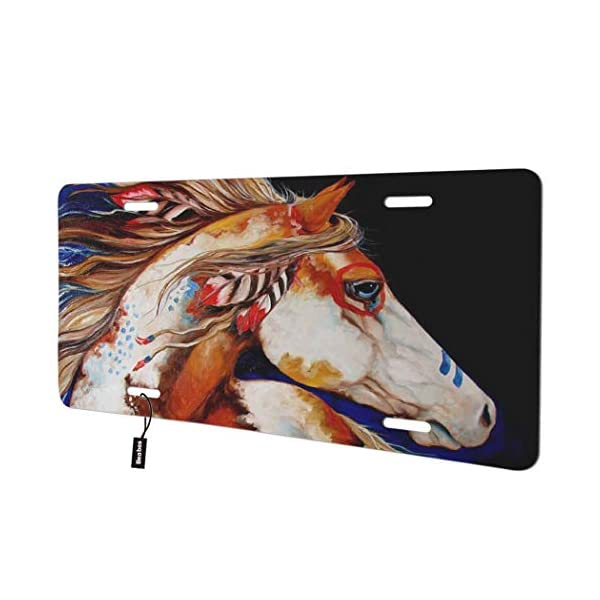 Indian-War-Horse-Front-License-Plate-Cover-Colorful-Animal
