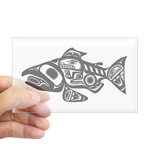 CafePress Salmon Native American Design Sticker (Rectangle) Rectangle Bumper Sticker Car Decal