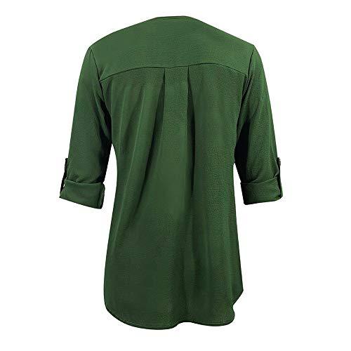 con Angelof maniche Size Camicetta a donna lunghe scollo Elegante Slim Green Casual Plus Tee Fit Bottoni Camicetta Ragazza V qwXqx5rS