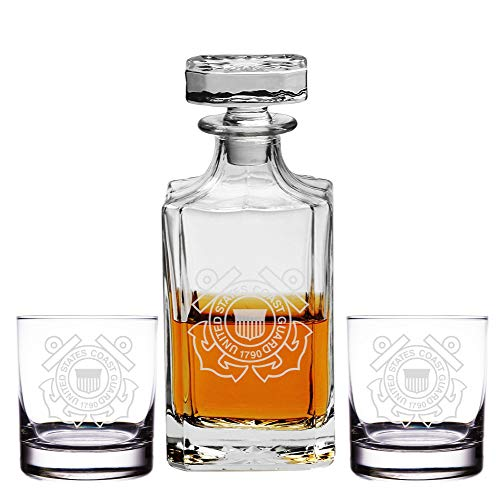 Abby Smith Engraved United States Coast Guard 1790-26oz Decanter with Rocks Glasses (Set of 3)
