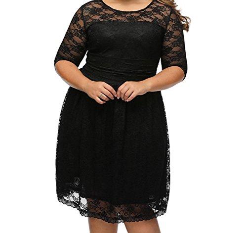 YFFaye Women's Black Three Quarters Sleeves Lace Wedding Plus Dress (Abba Fancy Dress Outfits)