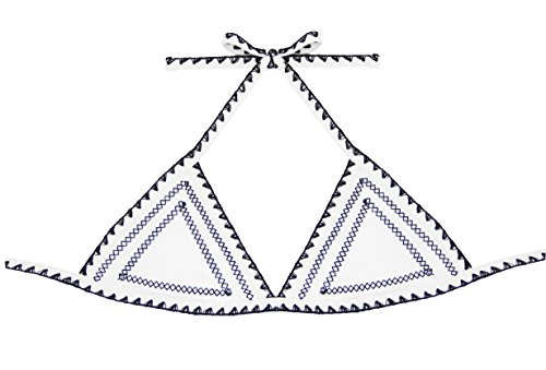 FLORAVOGUE Women's Halter Crochet Neoprene Bikini Set Triangle Top Swimwear (S US(0-2), Top White)