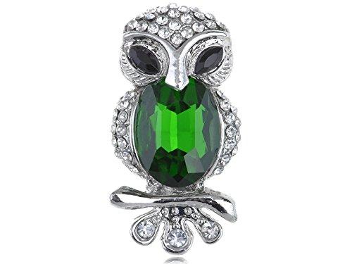 Alilang Womens Silvery Tone Emerald Green Colored Gemstone Cat Eyed Owl Bird Brooch Pin ()
