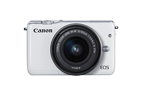 Canon EOS M10 Systemkamera (18 Megapixel, 7,5 cm (3 Zoll) Display, STM, WLAN, NFC, 1080p, Full HD) Kit mit EF-M 15-45mm IS weiß