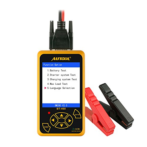 AUTOOL BT-460 12V/24V 100-2400 CCA Auto Battery Load Tester for All Cars Cranking and Charging System Diagnostic Tool with Large Colorful Display