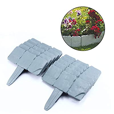 Stzonece Imitation Stone Fence Garden Plastic Fence, Garden Side - Landscaping Decorative Flower Bed Edge - Stone Decoration, 10 Sets of Pure Garden Interlocking Outdoor Lawn Pile
