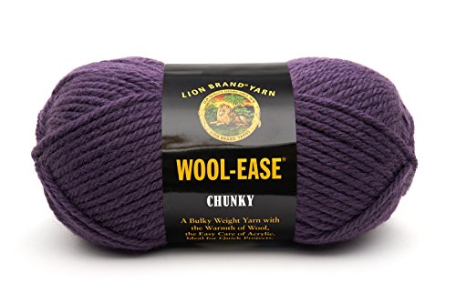 Lion Brand Yarn 630-144K Wool-Ease Chunky Yarn, Eggplant