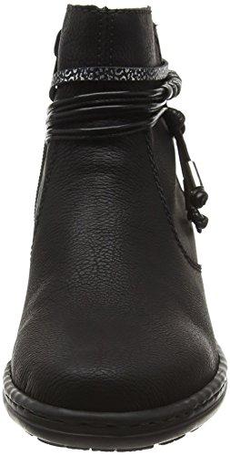 Rieker 54953, Botines para Mujer Negro (Schwarz/schwarz-silber/schwarz)