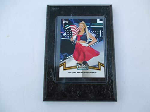 "LACEY EVANS WWE NXT 2018 TOPPS""WINS HER FIRST-ROUND MATCH"" AT MAE YOUNG CLASSIC (8/28/17) PERFORMER CARD MOUNTED ON A 4"" X 6"" BLACK MARBLE PLAQUE"