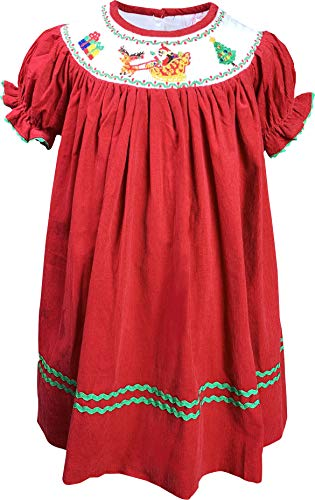 (Angeline Baby Toddler Little Girls Christmas Santa Sleigh Reindeer Corduroy Bishop Dress 3-6M Red)