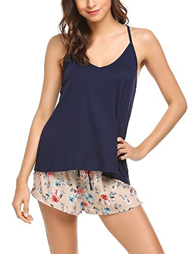 Ekouaer Sexy Pjs Set Top and Bottom Floral Pajama Shorts Set for Women,A-navy,Medium