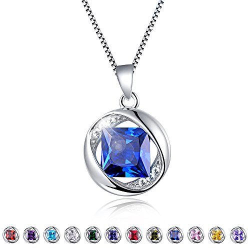 Aurora Tears Created-Sapphire Pendant September Birthstone Necklace for Women 17.7