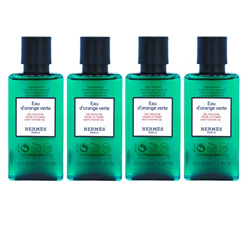 Hermès Eau d'Orange Verte Luxury Body Shower Gel/Douche Pour Le Corps In Bubble Bag - Set Of 4 X 1.35 Ounce/40 ML Bottles, Total 5.4 Ounce/160 ML from Hermes Paris