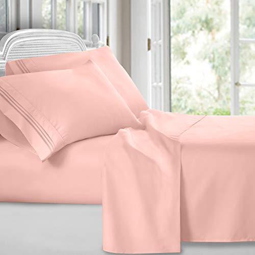 Clara Clark 4 Piece Sheet Set Deep Pocket Brushed Microfiber 1800 Bedding Hypoallergenic, Wrinkle, Fade & Stain Resistant