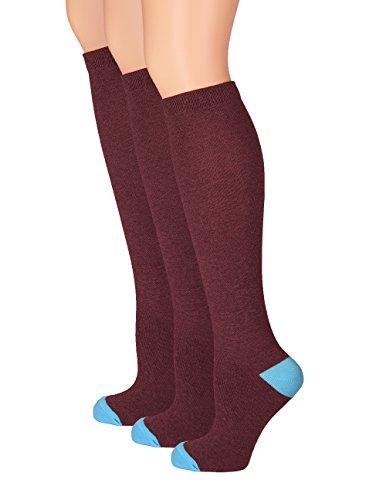 Girls Knee High Socks Cotton - Girls Uniform Socks - Long Solid School Stockings - 3 Pack and 6 Pack - by Topfit (Knee High Burgandy Socks)