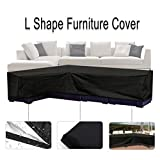 Essort L Shape Cover, Patio Sofa Furniture Couch Cover with Waterproof and Dustproof for Moving or Sunscreen (Black)