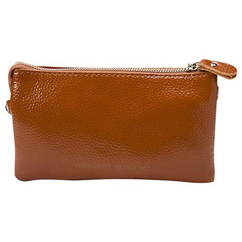Wocharm Brown Soft Wristlet Wallet Plus Strap Leather Strap Capacity Women's Leather IPhone 7 Clutch Wrist With Large Fit Shoulder handbags 6 qqgcRfdrwx