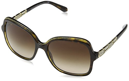 Bvlgari Women's BV8181B Sunglasses Havana/Glitter Gold/Havana/Brown Gradient 56mm
