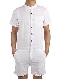 Mens Short Sleeve Hip Hop Casual Short Cargo Pants Rompers Jumpsuit Overalls