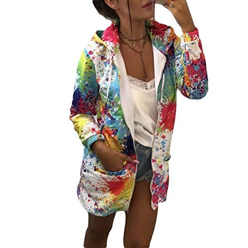 de White cordón estampado Sudadera bolsillo y con abrigo capucha floral con Desgastar y cremallera Sudadera con con capucha Ropa FCUwnqa