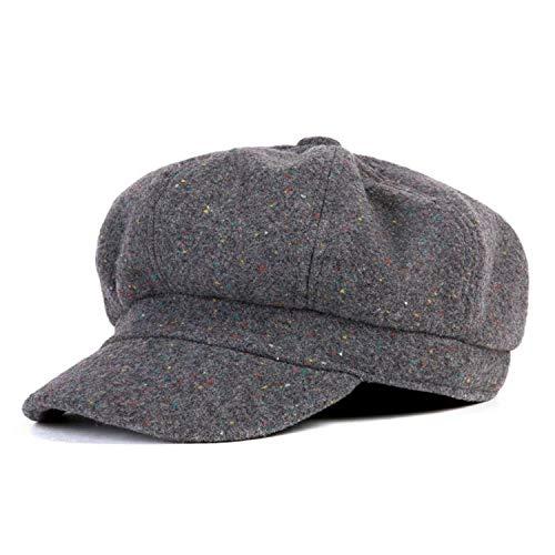 帽子 女の子用 カジュアルウォームハット女性オクタゴン帽子 女性用 ブラックヴィンテージスタイル,グレー