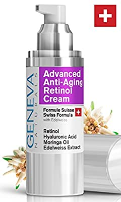 Geneva Naturals Retinol Night Cream - Professional Swiss Formula Features Retinol, Hyaluronic Acid, Coconut Oil, Moringa Oil, Vitamin E
