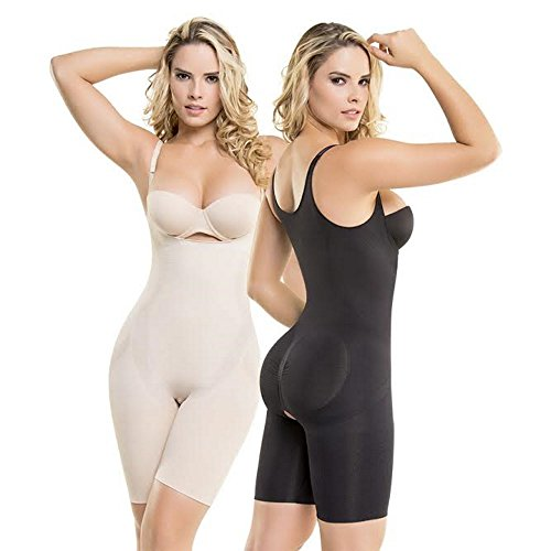 (Faja Colombiana Mid-Thigh Invisible Compression BodyShaper Garment Latex JUS (XL, Black))