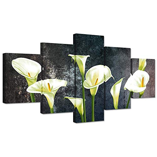 - XINGAKA Large Canvas Wall Art 5 Pieces Yellow Calla Lily Flowers On Grey Background Modern Prints on Canvas Floral Picture Artwork Still Life Stretched and Framed for Living Room Ready to Hang