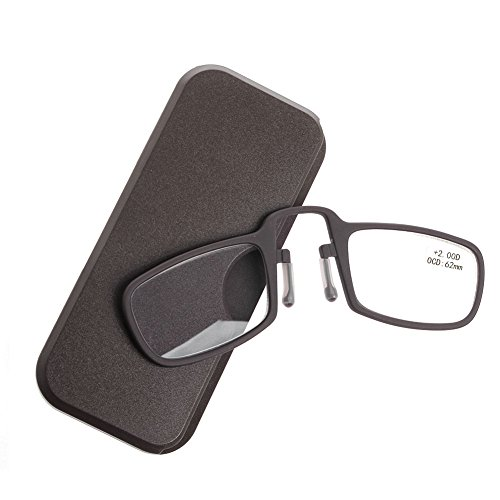Tsond Stick Anywhere, Go Everywhere Reading Glasses,Mini Nose Clip Reading Glasses Presbyopic Eyeglass (Coffee, 2.0)