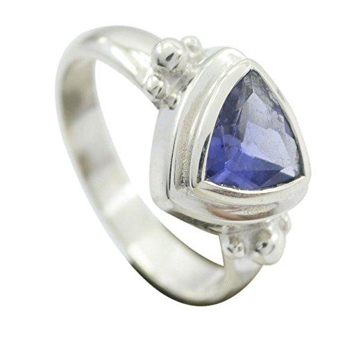Genuine Iolite Ring Trillion Cut Sterling Silver Blue Gemstone Gift Handmade Size (Trillion Cut Iolite Ring)