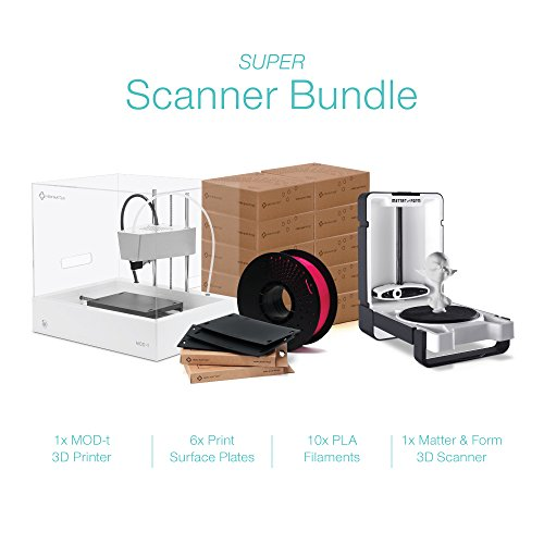 3D Scanner and 3D Printer Bundle - Includes 1x MOD-t Desktop 3D Printer, 1x Matter and Form 3D Scanner MFS1V1, 10x Spools of Filament, and 6x Print Surface Plates