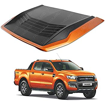 Powerwarauto Front Matte Black Orange Wildtrak Turbo Scoop Fake Trim Cover For Ford Ranger Facelift Px2 Mk2 Wildtrak 2WD 4WD 2016 2017 2018 UTE Pick-Up
