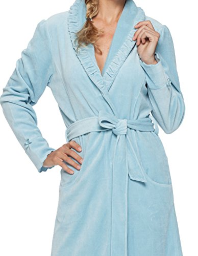 Pastunette Deluxe Loungewear Light Blue Cotton and Velours Robe 100cm 7051-303-4 (524)
