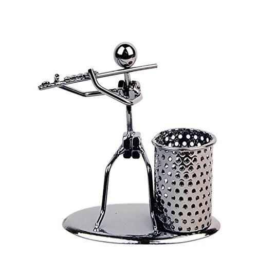 Metal Iron Pen Container Holder Pencil Cup Iron Art Music Figure~Home Office Desk Decor Gift Perfect Father's Day Gift(C73 Flute)