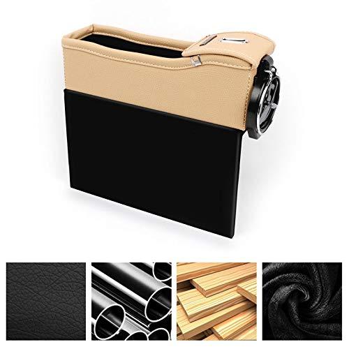 beige Car Seat Crevice Storage Box Tazza Drink Holder Organizer Auto Gap Pocket riordino per la carta del telefono Coin Case Accessori 260x260x60mm