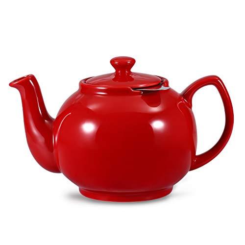 Urban Lifestyle Tetera/Tetera Ceramica clasica Inglesa ceramica Cambridge 1 6L con Filtro de te de Acero Inoxidable (Rojo)
