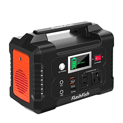 FlashFish Portable Power Station, 200W Solar Generator with 110V AC Outlet/2 DC Ports/3 USB Ports, 40800mAh Battery Power Supply for CPAP Outdoor Adventure Load Trip Camping Emergency.