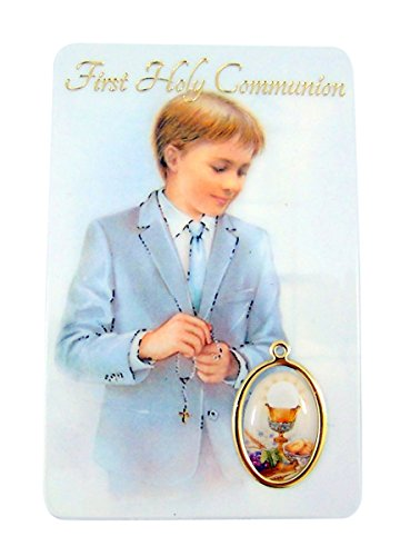 (Religious Art Boy's First Communion Catholic Holy Prayer Card with Medal )