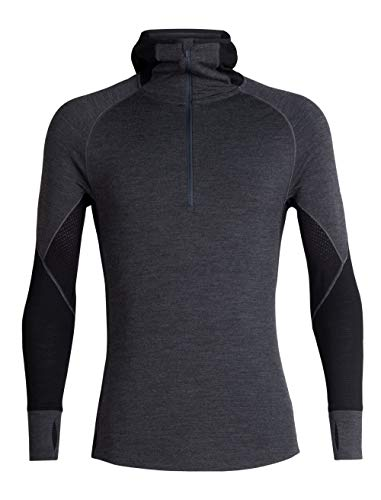 Icebreaker Merino Men's 260 Zone Long Sleeve Half Zip Hood Base Layer Tops, Medium, Jet Heather/Black