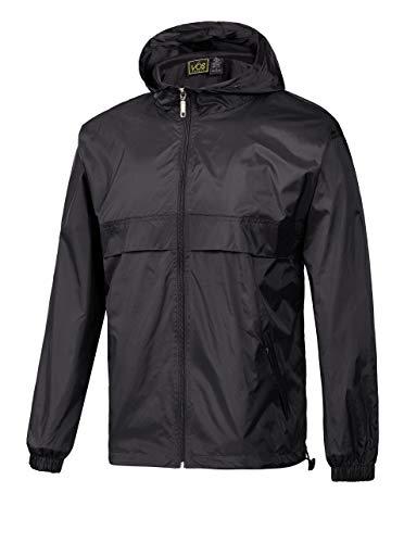 GEEK LIGHTING Rain Jacket for Men, Outdoor Zipper Waterproof Lightweight Raincoat Windbreaker with Hooded (Black, Medium)