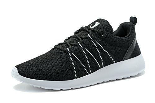 FANIC Herren Sneaker lässig Leicht Laufschuhe Sportliches Training Fitness Sport Schuhe Schwarz
