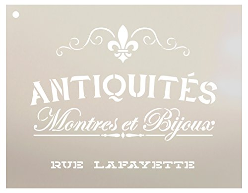 (Antiquities Montres Et Bijoux Rue Lafeyette Stencil by StudioR12 | French Words - Watches Jewelry Reusable Mylar Template | Painting, Chalk, Mixed Media | Wall Art - STCL2329 - Select Size (12